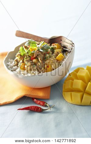 Spicy veal sauteed with mango on white bowl with dried chili