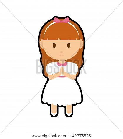 pray girl kid religion catholicism icon. Isolated and flat illustration