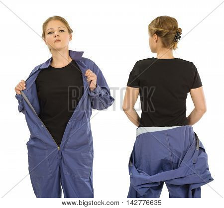 Photo of a woman posing with a blank black t-shirt and wearing overalls ready for your artwork or design.