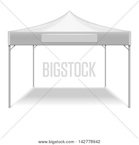 Realistic white folding tent for outdoor party in garden. Vector mockup tent for protection from sun. Illustration tent isolated on white background
