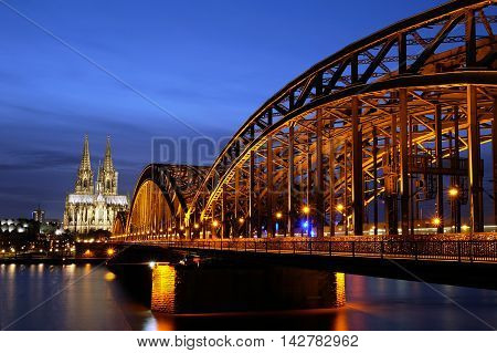 Hohenzollern Bridge and Cologne Cathedral in Germany