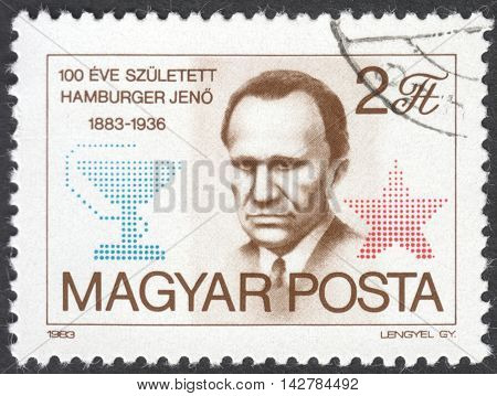 MOSCOW RUSSIA - CIRCA JUNE 2016: a post stamp printed in HUNGARY dedicated to the 100th Anniversary of the Birth of Jeno Hamburger circa 1983