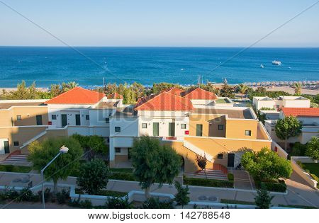 RHODES ISLAND GREECE- JULY 1: Overview of Mitsis Rhodos Village 5* hotel and skyline on July12013. Rhodes Island Greece.