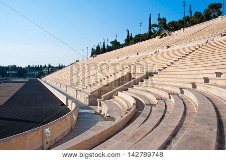 The Panathenaic Stadium in Athens Greece. In the citi down town.