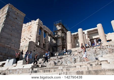 The Propylaea on July 1 2013 on Acropolis of Athens. Athens Greece.