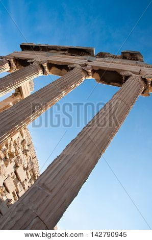 Ionic columns of the Erechtheion in Athens Greece.