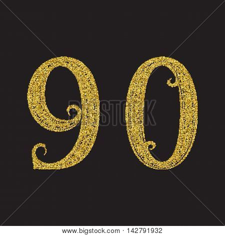 Nine zero golden glittering numbers. Vintage font with gold halftone effect.