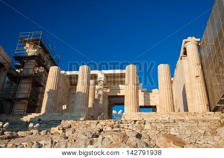 The Propylaea Athens Greece.In the citi down town.