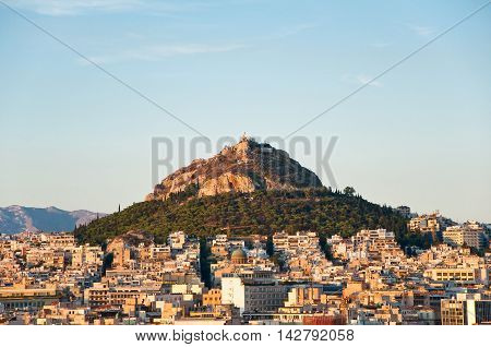 ATHENS-AUGUST 4: Mount Lycabettus on August 4 2013 in Athens Greece.