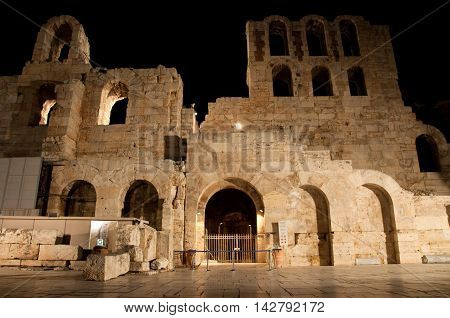 Odeon of Herodes Atticus at night. Greece Athens.