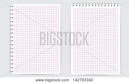 Blank realistic spiral notepad notebook with pink thin squared math grid lines isolated on white vector. Display Mock up.