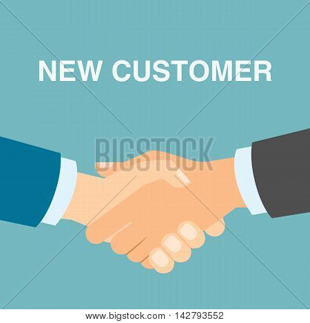 New customer handshake. Finding new client. Attracting people for partnership.