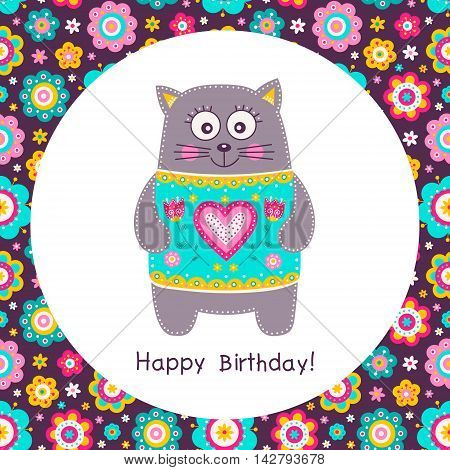 Cute flat cat. Vector Happy Birthday square card with smilling cat in colorful wear. Flowers hearts and dots. Pink yellow grey green and white colors. Fun birthday card for children.