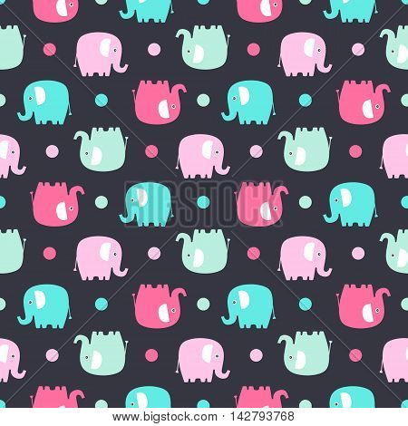 Cute flat elephant. Vector seamless pattern with fun color elephants silhouette and dots. Sweet background for babies and children. Pastel colors - pink and green on black background.