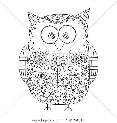 Cute vector owl with hand drawn floral ornament. Nice cartoon bird with doodle flowers bubbles and curls. Isolated. Coloring page for children and adult. Outline.
