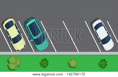Colored Parked cars on the parking, top view. Two free place. Vector illustration in flat design. background for web design or print