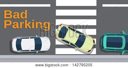 Bad parking. Car blocked the crosswalk and closed to pedestrians. Cars top view. Vector illustration in flat design