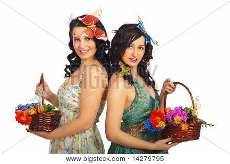 Beautiful Two Spring Women With Flowers