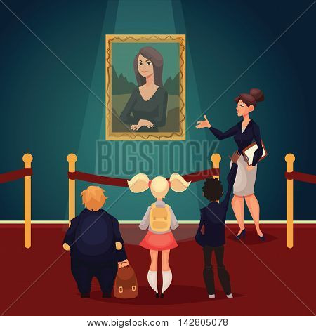 Kids in museum looking at classical work of art, cartoon style vector illustration. Museum guide telling children about a woman portrait. School trip to museum