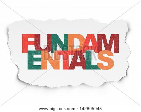 Science concept: Painted multicolor text Fundamentals on Torn Paper background