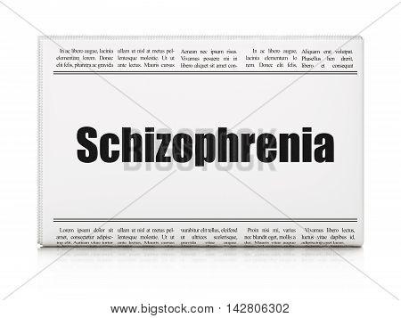 Health concept: newspaper headline Schizophrenia on White background, 3D rendering