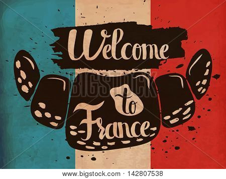 A poster on aged paper. A trip to France. Gastronomic tour. Vector illustration