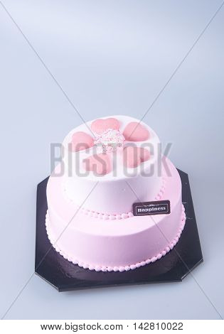 Cake Or Mothers Day Heart Shaped Cake On A Background.