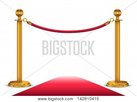 llustration of a red velvet rope and red carpet