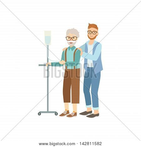 Volunteer Helping Old Man With Iv In Hospital Flat Illustration Isolated On White Background. Simplified Cartoon Character In Cute Childish Manner.