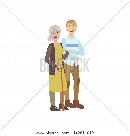 Volunteer Walking The Old Lady With Stick Flat Illustration Isolated On White Background. Simplified Cartoon Character In Cute Childish Manner.