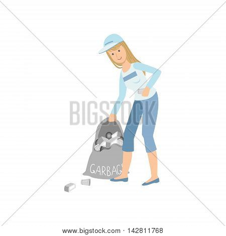 Volunteer Picking Up Garbage Flat Illustration Isolated On White Background. Simplified Cartoon Character In Cute Childish Manner.