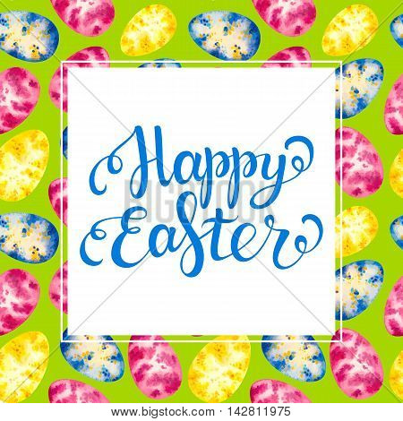 Happy easter card. Happy Easter lettering. Watercolor easter egg seamless pattern. Easter vector. Easter holiday. Easter text.