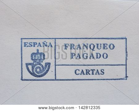 Postage meter from Spain used for stamp cancellation on letters