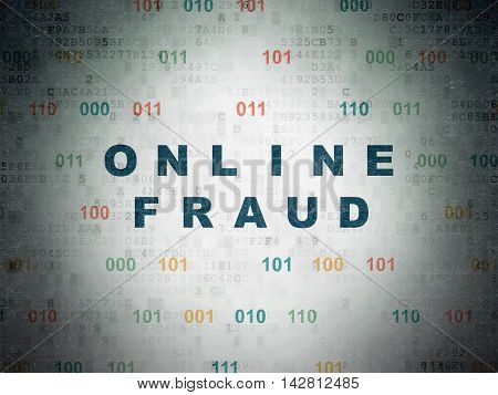 Safety concept: Painted blue text Online Fraud on Digital Data Paper background with Binary Code