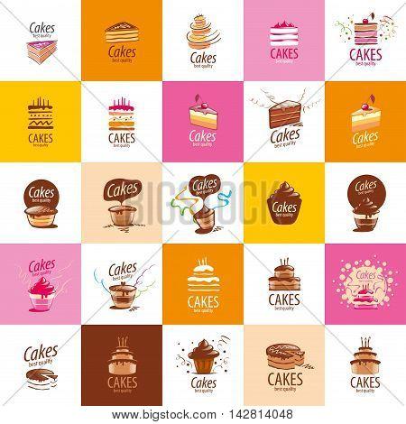 Cake logo design template. Vector illustration of icon