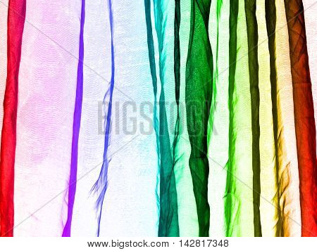 Voile curtain background multiple bright rainbow colors