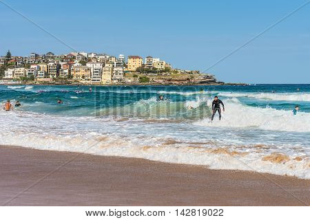 Sydney Australia - November 26 2014: Surfers at Bondi Beach in the Eastern Suburbs Sydney New South Wales Australia.