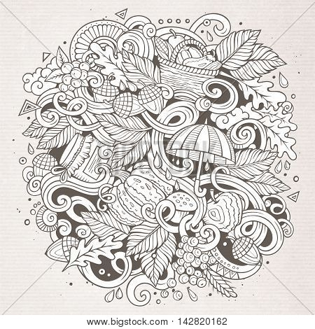 Cartoon cute doodles hand drawn autumn illustration. Line art detailed, with lots of objects background. Funny vector artwork. Sketchy picture with fall season theme items