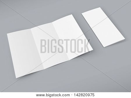 Blank white trifold booklet isolated on color background. Paper prospect mockup for design demonstration. You can easily change the color of the background in eps10 file.