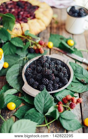 Freshly Baked Berry Pie. Blackberries Pie With A Slice Missing.