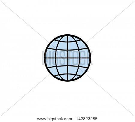 Globe symbol icon. Vector illustration of globe for delivery service