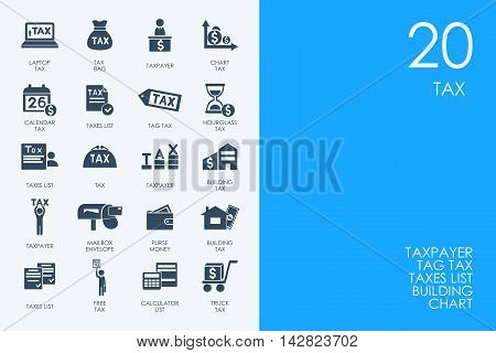 BLUE HAMSTER Library tax vector set of modern simple icons