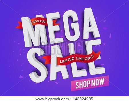 3D Text Mega Sale with Red Discount Ribbons, Creative Poster, Banner or Flyer design, Vector illustration.