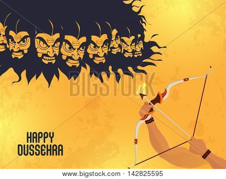 Creative illustration of Lord Rama's Hand killing Ravana for Indian Festival, Happy Dussehra celebration.