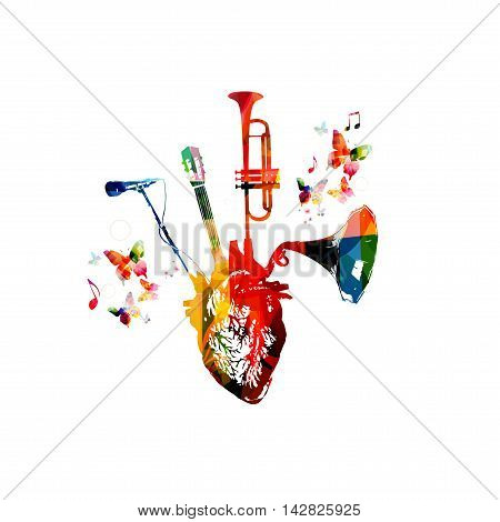 Vector illustration combining colorful human heart with set of music instruments, trumpet, old, vintage gramophone speaker, microphone and guitar fretboard and decorated with butterflies.