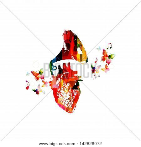 Vector illustration for music inspires concept combining colorful human heart with old, vintage gramophone speaker, collected from various elements of flower ornament and decorated with butterflies