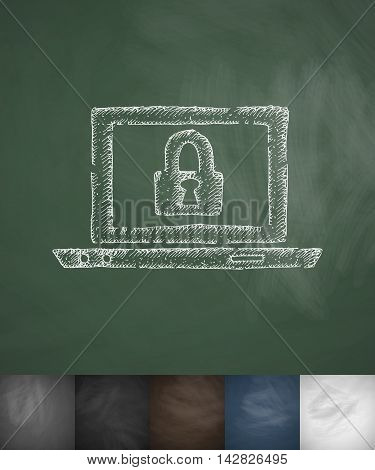 laptop recovery record icon. Hand drawn vector illustration. Chalkboard Design