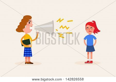 Angry teacher scolds the girl. Bad emotions and problems at school concept. Vector flat illustration.