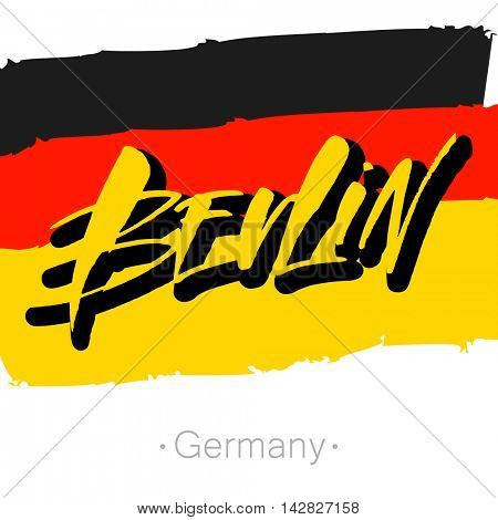 Berlin hand-lettering calligraphy and national Germany flag. Berlin hand drawn vector stock illustration.