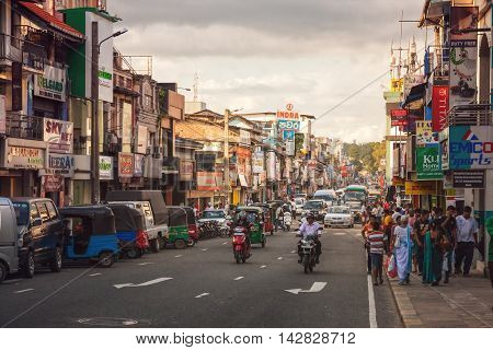 Kandy, Sri, Lanka, -, January, 4th, 2016:, Busy, Street, Downtown, Second, Largest, City, Cultural, Capital, Lanka.